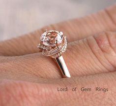 $489 Round Morganite Engagement Ring Pave Diamond Wedding 14K Rose Gold 7mm