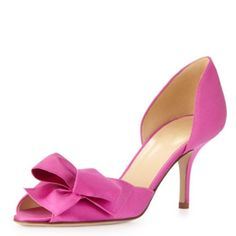 """NWOT Kate Spade Sala Pump, Fuschia NWOT / Store Display. A gorgeously folded bow lends graceful sophistication to a lustrous satin peep toe pump with curvy d'Orsay silhouette. 2 3/4"""" heel. Textile upper/leather lining and sole. Made in Italy. kate spade Shoes"""