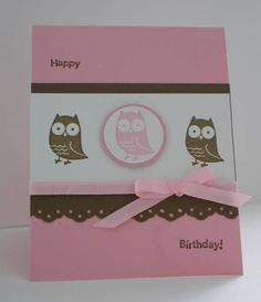 Pink Owl by Gem - Cards and Paper Crafts at Splitcoaststampers