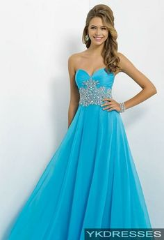 affordable blue long chiffon spaghetti prom dress with beads ...