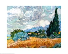Vincent Van Gogh - Buy Wheatfield with Cypresses Print - Curved lines, oblique dominant - balance of vert, horiz and oblique shapes