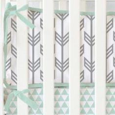 Baby Nursery - teal and grey arrow crib bumpers