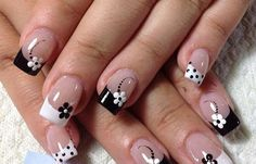 Manicure French tip nails black and white flowers - French Manicure Designs, White Nail Designs, French Tip Nails, Nail Art Designs, Nails Design, French Manicures, French Manicure Toes, Fun Nails, Pretty Nails
