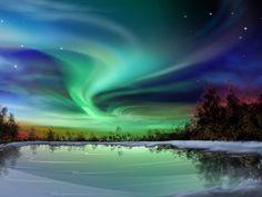 Aurora boreal verde em forma de espiral - Fotos e fotos |Seu portal de imagens grátis,dicas e notícias