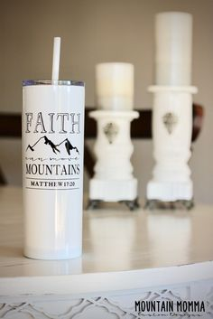 Faith Can Move Mountains Mathew Inspiration Tumbler - Insulated Tumbler with Straw - Free Personalization - Customization with Every Order - This makes a great gift for any person in your life. Personalized Gifts For Her, Personalized Tumblers, Custom Tumblers, Gifts For Friends, Gifts For Kids, Religious Gifts, Religious Quotes, Custom Water Bottles