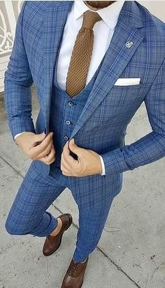 This beautiful blue three piece suit is a knock out! #mensfashion #menswear #menstyle #mensguides #suits #business #bespoke #theclassypeople #wedding #giorgentiweddings