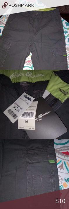 Eddie Bauer Boys Cargo Shorts Dark gray cargo shorts with lime green accents.  NWT Size 16 Eddie Bauer Bottoms Shorts