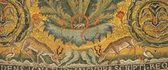 Stags drinking from streams flowing under the crucified Christ. Detail of mosaics in the apse of the church of San Clemente, Rome. Consecrated 1128.