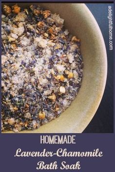 A simple combination of lavender, chamomile, and Epsom and sea salts, creates a soothing bath soak to ease insomnia, stress, anxiety and body aches.