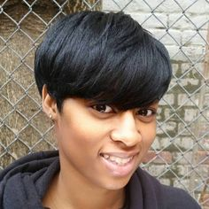 Short Black Haircut With Bangs - Black Haircut Styles Black Haircut Styles, Short Black Haircuts, Haircuts With Bangs, Short Hairstyles For Women, Straight Hairstyles, Virtual Hairstyles, Hairstyles Haircuts, Chic Short Hair, Short Straight Hair