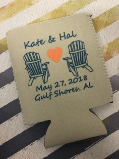 The 2nd ink color gives such a fun POP!  Use code Pinterest at checkout for 15% off! Wedding Koozies, Free Graphics, Ink Color, Personalized Wedding, Anniversary, Pop, Prints, Popular, Pop Music