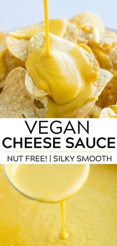 all purpose vegan cheese sauce (nut free!) that goes great with chips, on a baked potato or drizzled over steamed broccoli.An all purpose vegan cheese sauce (nut free!) that goes great with chips, on a baked potato or drizzled over steamed broccoli. Best Vegan Cheese, Vegan Cheese Recipes, Vegan Cheese Sauce, Dairy Free Cheese, Vegan Sauces, Vegan Foods, Vegan Dishes, Gluten Free Cheese Sauce Recipe, Dairy Free Nut Free Recipes