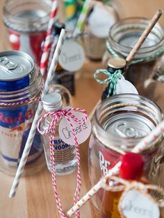 These tiny, customizable Mason jar cocktail kits would make the perfect bridesmaid and groomsmen gifts, but would also make great inexpensive gifts for any occasion, like Friendsgiving! via Something Turquoise