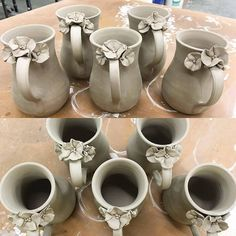 Have you seen the fantastic mugs that our apprentice Jesi of @jesim7741 makes? These delicate #flowers are so sweet!!! 🏵️🏵️🏵️ #wipwednesday - - - #pottery #ceramics #instapottery #pottersofinstagram #boulderpottersguild #bouldercolorado #boulderart #makersmovement #artistatwork #poppies #mugshot #greenware #handmademovement #ceramiclove