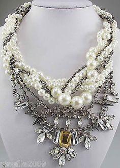 New Design Pearl Rhinestone/crystal Flower Bib Statement Chunky Necklace collar