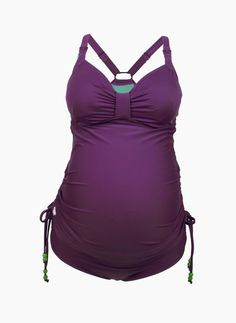 Enjoy the beach or pool in the adorable Shake Nursing Tankini for Fuller Cups from Cate Lingerie is cute for maternity too! Plum solid w/ apple green lining & adjustable sides & straps. Flex underwire supportive bra top has drop-down cup access. S & M Only; DD-G Cups