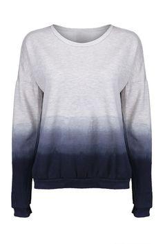 Gradient Color Blue-grey Pullover  ---- great diy idea!