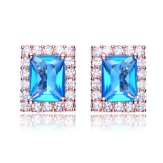 Collette Z Sterling Silver Bright Blue & Clear Cubic Zirconia Rectangle Earrings