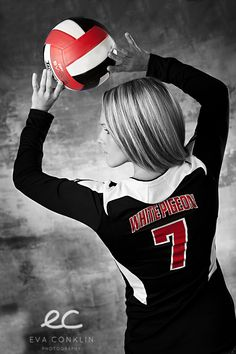 Black and white volleyball player photo with selective color Volleyball Team Photos, Volleyball Posters, Volleyball Senior Pictures, Senior Photos Girls, Senior Girl Poses, Senior Girls, Volleyball Setter, Volleyball Shirts, Softball Pictures