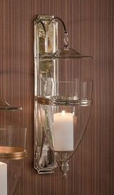 GU760 - Nickel Glass Dome Brass Wall Sconce - Candle Holder