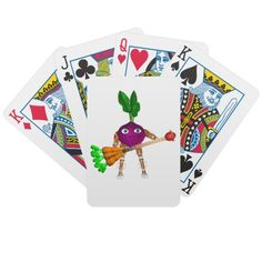 Beet & Carrot guitar on Bicycle® Playing Cards  Made with patented casino quality paper and a color printing process that is second to none, these cards are the mark of the premium quality Bicycle has represented since 1885. Make a deck with your photos, text, or designs for a fun birthday gift, wedding favor, or to stylize your home poker tournament as a cut above the rest.Comes with standard Bicycle cardboard case.
