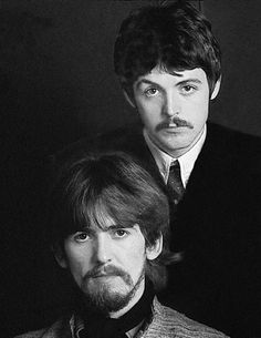 THE BEATLES - Paul McCartney and George Harrison.