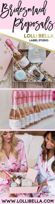 Bridesmaid Proposals - Mini Champagne Labels from Lolli Bella @lollibella @hauteofftherack