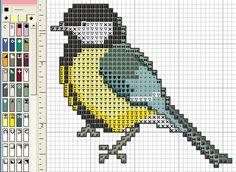 Синичка Cross Stitch Bird, Beaded Cross Stitch, Cross Stitch Borders, Crochet Cross, Cross Stitch Animals, Cross Stitch Flowers, Cross Stitch Charts, Cross Stitch Designs, Cross Stitching