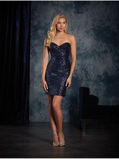 Short Sweetheart Navy Sequins Bridesmaid Dresses 906044