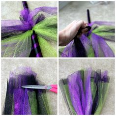 How to create an adorable witches broom with tulle, perfect for decoration or costume building halloween babyshower Homemade Witch Costume, Kids Witch Costume, Homemade Halloween, Halloween Costumes For Kids, Scary Halloween, Vintage Halloween, Halloween Crafts, Halloween Stuff, Halloween Decorations