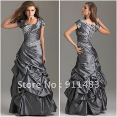 H205 Free Shipping Zipper Back Floor Length Cheap Crystal Beaded Taffeta Modest Prom Dresses with Sleeves 2014 Long-in Prom Dresses from Apparel & Accessories on Aliexpress.com