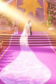 Rapunzel and Eugene's wedding--And the veil to end all veils! Disney Pixar, Princesa Rapunzel Disney, Disney Punk, Walt Disney, Princess Rapunzel, Disney Couples, Disney And Dreamworks, Disney Magic, Disney Movies