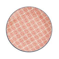 R$ 49,00 Prato Para Sobremesa Em Cerâmica Vermelho 21cm Florals Kenya