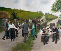 """""""Road Dancing, St. Patrick's Day, Ireland"""" ... painting and prints by Master Artist Martin Driscoll 1939-2011    Published by Sunflower Fine Art Galleries,   Garden City NY    516-747-7406       https://www.facebook.com/MartinDriscollArt/"""