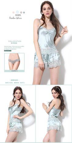 SANGLUO новый Cenraud шелка домашняя одежда кружева ремешок женщин шелковые пижамы два кусок набор