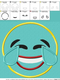 8112c2dad1b Laughing Emoji Applique Design by Appliques With Character Laughing Emoji