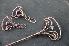 Hair stick hair fork hair pin Copper and peacock por Keepandcherish