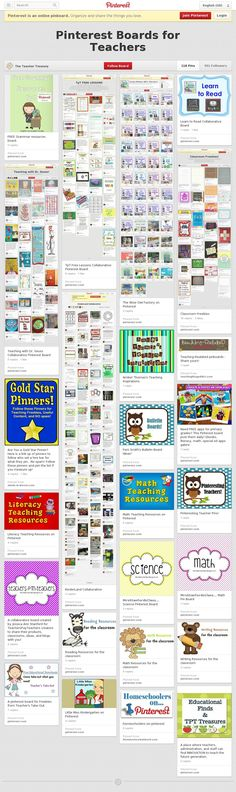 More than 100 of the best Educational Pinterest Boards all in once place! (direct links)