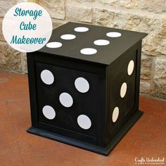 What a cute painting idea....Designer inspired Storage cube End Table