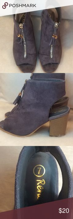 "Reneeze Zip up suede heels Beautiful suede wedge heel shoes Worn once  Size 7 No staining or damage done to product  Still has a ""new shoe "" smell  Color is a mix between dark purple, gray, and a hint of coco .  Comes with a little extra gift 😊 Reneeze Shoes Heeled Boots"