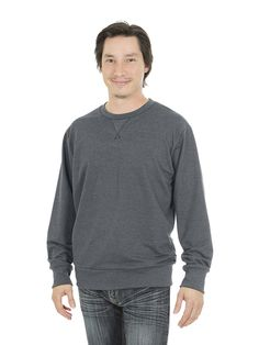 Style #504 - Men's Crew-neck Sweater - French Terry  50% Organic Cotton / 50% Recycled Polyester– 10oz Available in Heather Navy – Heather Black – Heather Red – Heather Grey