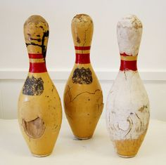 Set of Three Vintage Bowling Pins 1950s or by NostalgiaVintage2