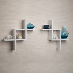 @Overstock - Set of 2 Reversed Criss Cross White Shelves - This set of two white decorative floating wall shelves // $23.98