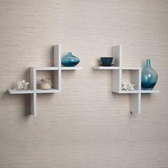Set of 2 Reversed Criss Cross White Shelves - Overstock™ Shopping - Great Deals on Danya B Media/Bookshelves