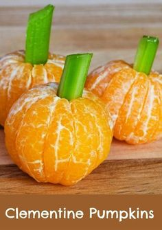 Clementine and Celery Pumpkins: Just peel little clementines or small oranges if that is all you have. Insert a one inch piece of celery into the top so that it looks like a pumpkin stalk.