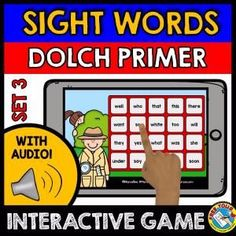 DOLCH PRIMER WORDS SET 3 (SIGHT WORDS GAME WITH AUDIO - DETECTIVE THEME)    A fun sight words game (Dolch Primer words) where kids hear sight words and click the corresponding words. Detective theme makes it even more fun for kids to hunt for the words! :)    Keywords: detective theme, identifying sight words, interactive audio game, common words, fluency words, Kindergarten sight words, Dolch Primer Words, Dolch sight words