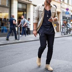 Tanned #jacket black tshirt and jeans #chelseaboot [ http://ift.tt/1f8LY65 ]