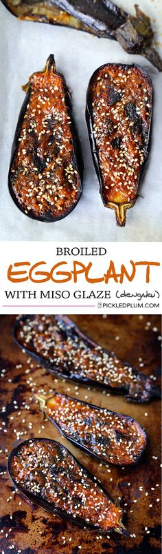 Healthy Recipe for Nasu Dengaku - Broiled Eggplant with Miso Glaze. http://www.pickledplum.com/nasu-dengaku-recipe/
