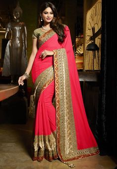 #Pink #Viscose And #Art #Silk #Saree With #Blouse  #Pink Viscose And #Art #Silk #Saree designed with Heavy Zari,Resham Embroidery With Stone Work And Lace Border   INR: 7,542.00  With Exclusive Discounts   Grab: http://tinyurl.com/jkn3t4j
