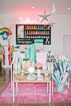 A tour of Wild Child Party, the cutest party decor shop and more located in Long Beach, CA. Full of color, fun and the best balloons in the business! Party Supply Store, Party Stores, Party Shop, Gift Shop Interiors, Flower Shop Decor, Balloon Shop, Lokal, Hip Hip, Store Displays